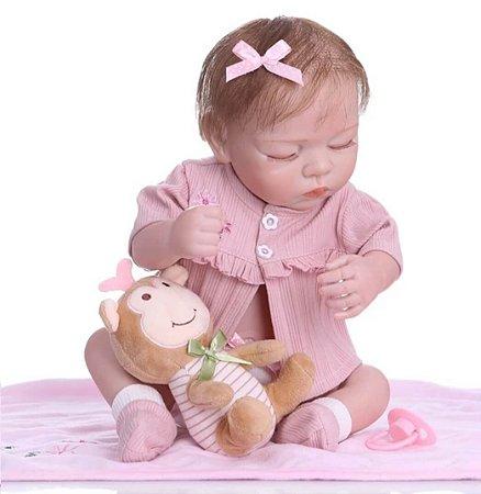 Bebê Reborn Boneca Menina Bia Soninho 100% Vinil Soft Touch 48 cm - Bebê reborn