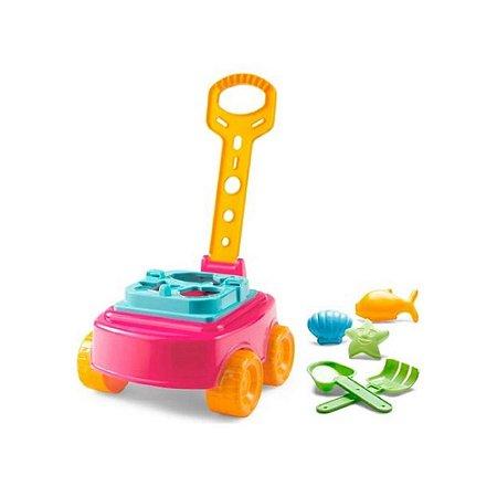Carrinho Bebe com Puxador Educativo Mileva Ao Ar Livre Laranja Baby Land - Cardoso Toys