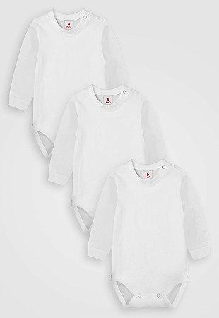 Kit 3 pçs, Body Longo Liso, Zupt Baby, Branco