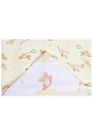 Toalha de Banho Papi Forrada Urso Brinquedo Branco