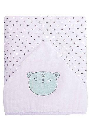 Toalha de Banho Papi Soft Forrada Urso Branco