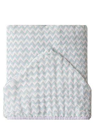 Toalha de Banho Papi Soft Forrada Chevron Verde e Branco