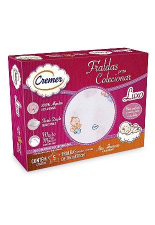 Caixa 5pçs Fraldas de Pano Cremer Luxo Menina