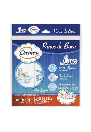 Kit 3pçs Toalha de Boca Cremer Luxo Menino