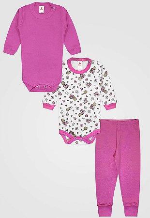 Kit 3pçs Body Zupt Baby Longo Bebê Pink