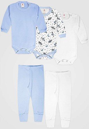 Kit 5pçs Body Zupt Baby Longo Meia Lua Azul