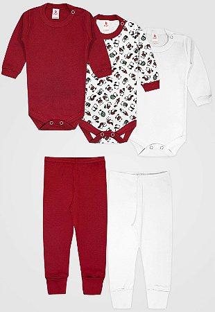 Kit 5pçs Body Zupt Baby Longo Panda Vermelho