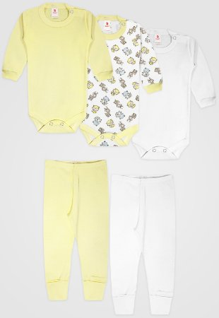 Kit 5pçs Body Zupt Baby Longo Raposa Amarelo