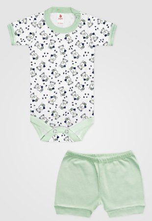 Conjunto 2pçs Zupt Baby Curto Ursinho Verde