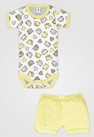 Conjunto 2pçs Zupt Baby Carinhas Amarelo