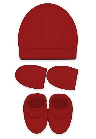 Kit 3 Pçs Touca, luva e Pantufa, Zupt Baby, Vermelho