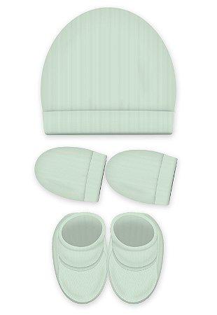 Kit 3 Pçs Touca, luva e Pantufa, Zupt Baby, Verde