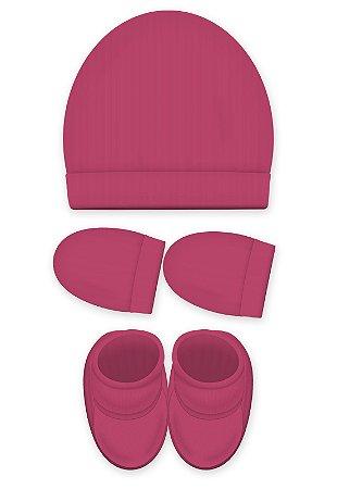Kit 3 Pçs Touca, luva e Pantufa, Zupt Baby, Pink