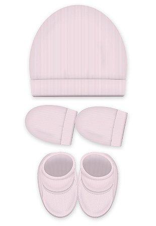 Kit 3 Pçs Touca, luva e Pantufa, Zupt Baby, Rosa Bebê