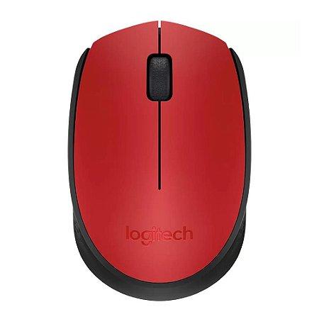 Mouse Óptico Sem Fio 1000 DPI Vermelho Logitech M170