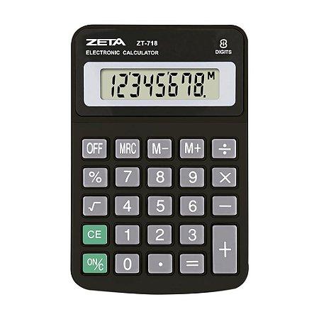 Calculadora de Mesa 8 Dígitos Preta Zeta ZT718