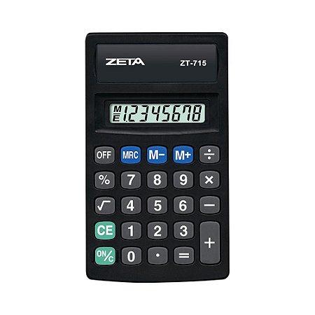 Calculadora de Bolso 8 Dígitos Preta Zeta ZT715