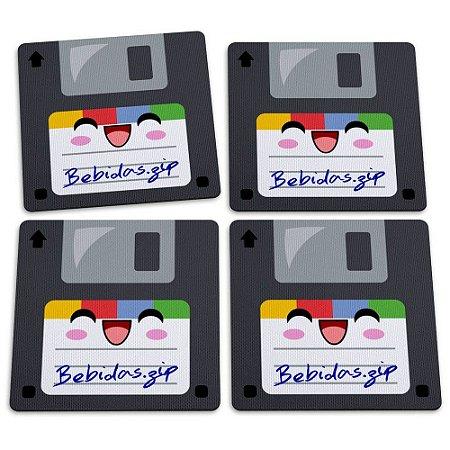 Jogo de Porta Copos 4 Peças Floppy Bebidas ZIP Yaay! PCP001