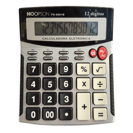 Calculadora de Mesa 12 Dígitos Cinza Hoopson PS-6001B