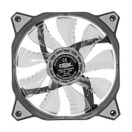 Cooler Fan 120mm 12cm Ventoinha LED Branco Dex DX-12B