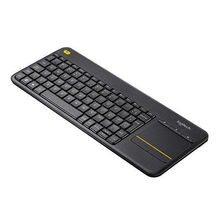 Teclado Multimídia Sem Fio c/ Touchpad ABNT2 Logitech K400+