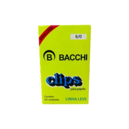 Clips para Papel Aço Galvanizado 6/0 c/ 50 Un Bacchi 0909-8