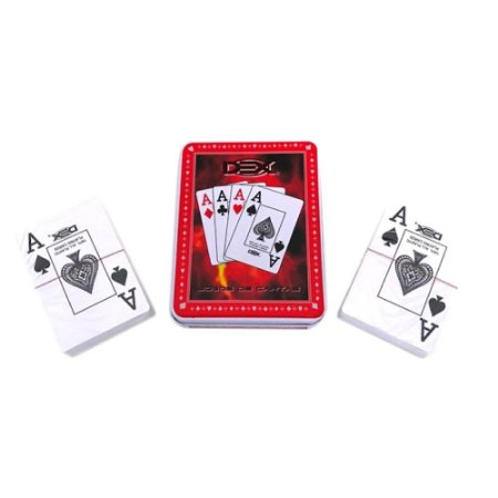 Jogo de Cartas Baralho Plástico c/ Estojo de Lata Dex PK8088