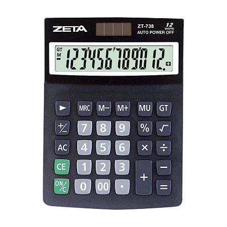 Calculadora de Mesa 12 Dígitos Preta Zeta ZT738