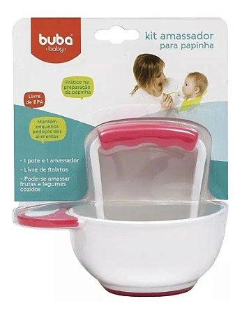 Kit Amassador Lanchinho Facilita Papinha Para Bebê Rosa