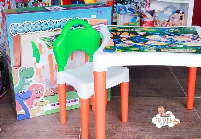 Mesinha com 1 Cadeira Fofossauros em Plástico - Xalingo