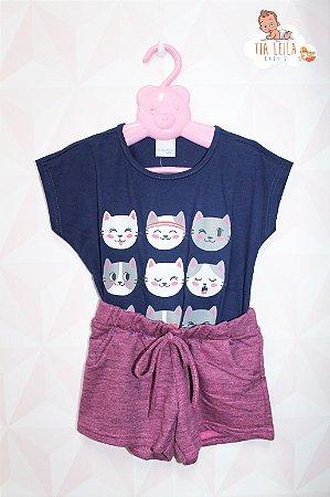 Conjunto menina Blusa Cats e Short