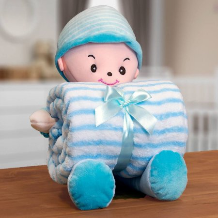Kit Manta Infantil 100x75cm em Microfibra com Boneco Bouton Baby