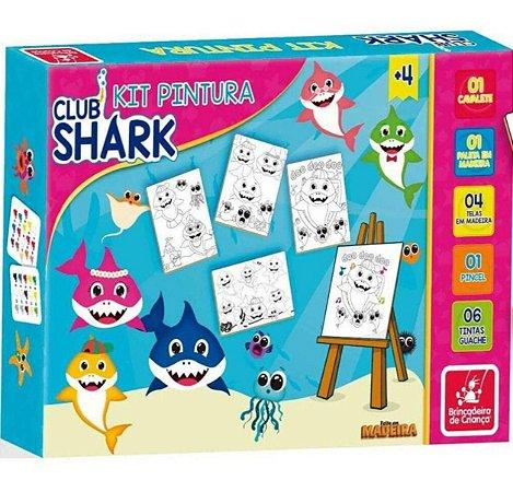 Kit Pintura Club Shark Brincadeira De Criança Com Cavalete
