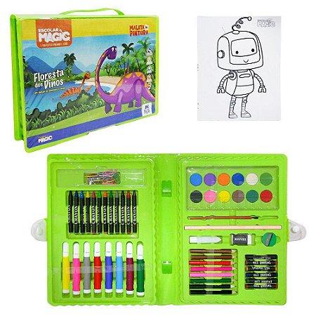 Estojo Maleta Escolar Dinossauro com canetinha + acessórios 86 pecas - Magic