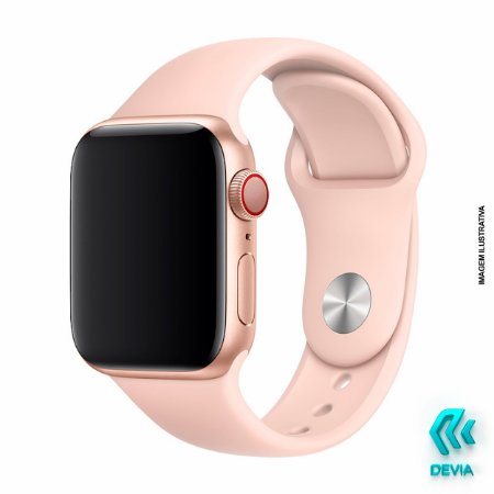 Pulseira Apple Watch Silicone 44mm Pink Sand Devia