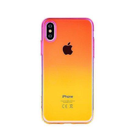 Capa iPhone X XS Aurora Pink + Yellow Devia