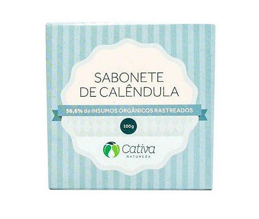 Sabonete em Barra Natural de Calêndula 100g – Cativa Natureza