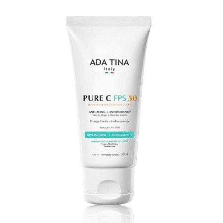 Protetor Solar com Vitamina C e Niacinamida Clareador Pure C FPS 50 -50ml - Ada Tina