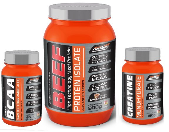 Combo Beef Protein Isolate (900g) + Power BCAA (120 caps) + Creatine Monohydrate (150g) - New Millen