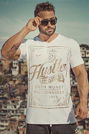 CAMISETA HUSTLER BRANCA E DOURADO - Fit Clothing Line