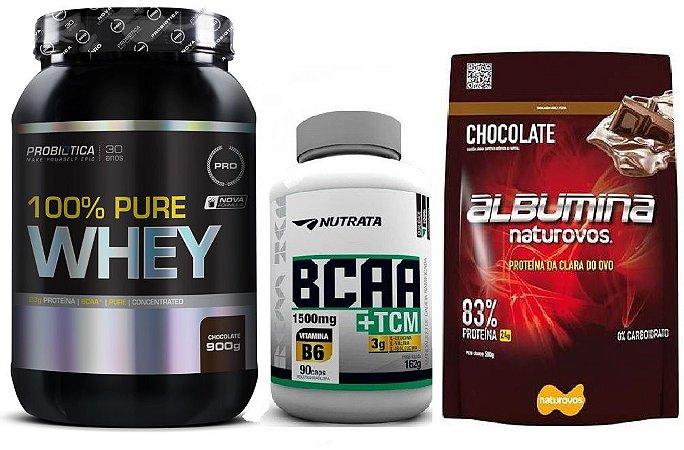 Combo 100% Pure Whey (900g) Probiotica + BCAA TCM (90 caps) Nutrata + Albumina Naturovos