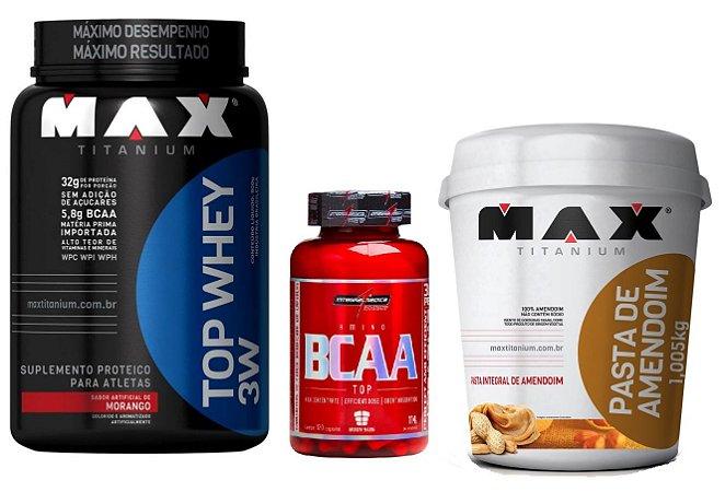 Combo Top Whey 3w + Pasta de amendoim (1,005 kg) Max Titanium + BCAA TOP (120 caps) IntegralMedica