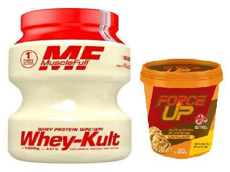 WHEY KULT  900G - MUSCLEFULL + PASTA DE AMENDOIM CROCANTE 1kg - FORCE UP