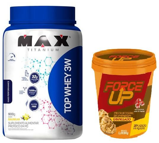TOP WHEY 3W  900G - MAX + PASTA DE AMENDOIM CROCANTE 1kg - FORCE UP