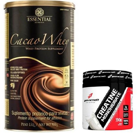 CACAO WHEY 900G - ESSENTIAL + CREATINA 150G - BODYACTION