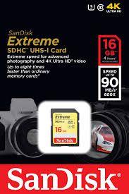 Cartao de Memoria SanDisk  Extreme SDhC UHS-I  16 GB   classe 10 90mbp/s