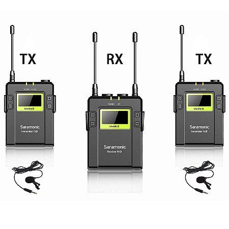 Microfone Lapela Sem Fio 1 transmissor e 2 Recptores -Greika  UwMic9