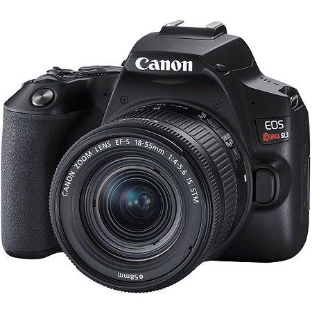Câmera DSLR Canon EOS Rebel SL3 com lente de 18-55mm