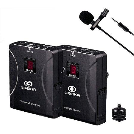 Microfone sem Fio Lapela para Celular e Câmera Greika GK-G4/FO-G4
