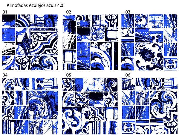 Almofada Azulejos azuis em tom escuro (UNIDADE)